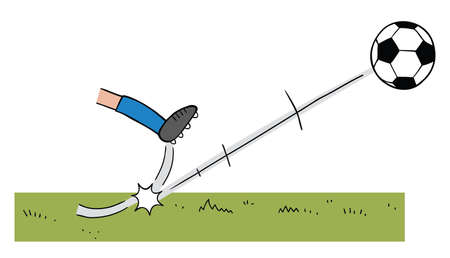 Cartoon vector illustration of soccer player who shoots the ball on the field. Colored and black outlines.