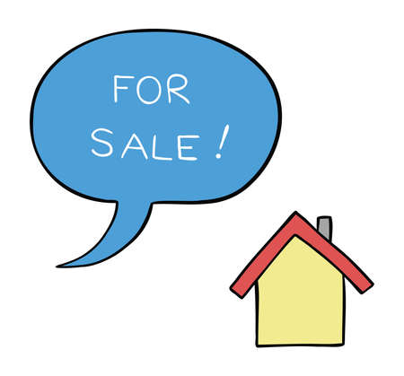 Cartoon vector illustration of house for sale. Colored and black outlines.
