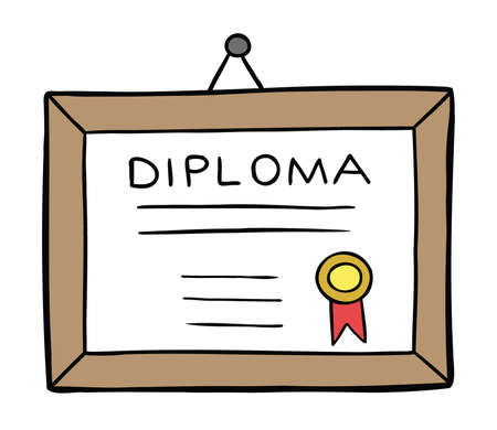 Cartoon vector illustration of framed diploma hanging on the wall. Colored and black outlines.