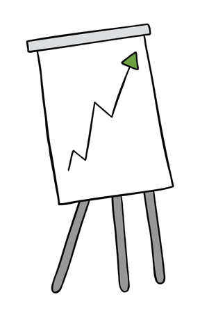 Cartoon vector illustration of standing sales chart graph with up arrow. Colored and black outlines. 矢量图像