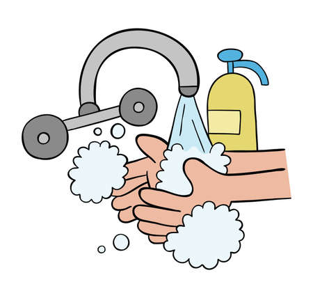 Cartoon vector illustration of washing hands with soap. Colored and black outlines.
