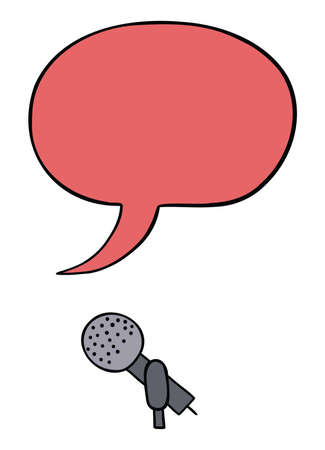 Cartoon vector illustration of microphone and speech bubble. Colored and black outlines.