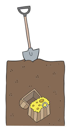Cartoon vector illustration of big treasure under the shovel and soil. Colored and black outlines.