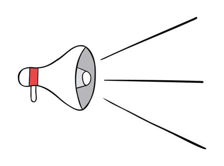 Cartoon vector illustration of megaphone and announcement. Colored and black outlines. 矢量图像