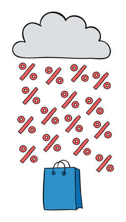 Cartoon vector illustration of shopping bag, cloud and discount rain. Colored and black outlines.