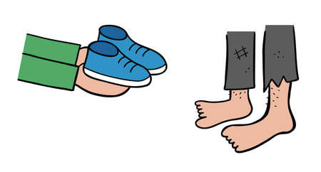 Cartoon vector illustration of new shoes gift to the homeless. Colored and black outlines. 矢量图像