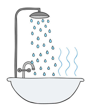 Cartoon vector illustration of shower, bathtub and hot water. Colored and black outlines. 矢量图像