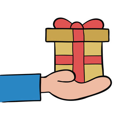 Cartoon vector illustration of giving gift. Colored and black outlines.