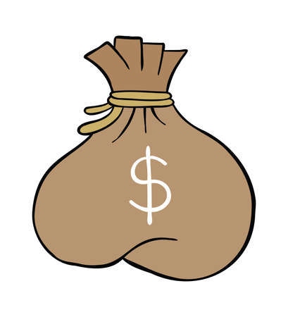Cartoon vector illustration of dollar money sack. Colored and black outlines.
