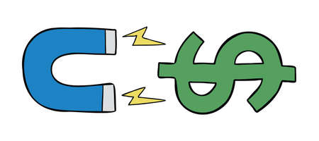 Cartoon vector illustration of magnet attracting dollar money. Colored and black outlines.