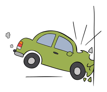 Cartoon vector illustration of car accident, crashing into the wall. Colored and black outlines. 矢量图像