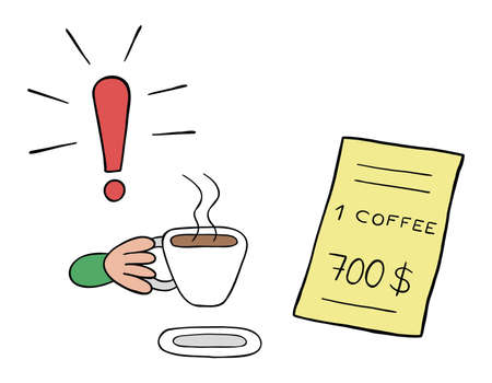 Cartoon vector illustration of a coffee drinker and a restaurant with a very high price. Colored and black outlines.