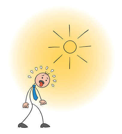Stickman businessman character walks in hot weather and his tongue is out, vector cartoon illustration. Black outlined and colored. Ilustração Vetorial