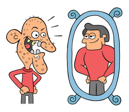 Cartoon ugly man looks in the mirror and thinks he's so handsome, vector illustration. Black outlined and colored. Vektoros illusztráció