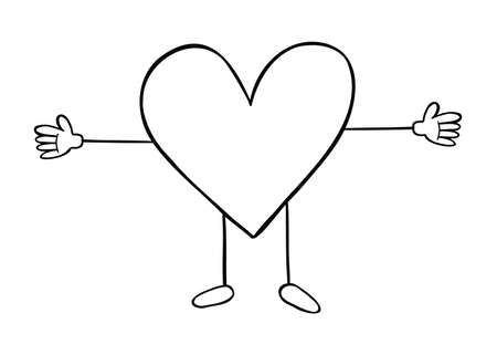 Cartoon vector illustration of heart mascot character. Black outlined and white colored.