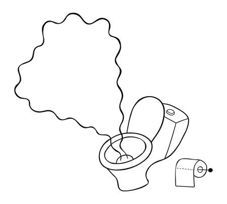 Cartoon vector illustration of toilet seat and disgusting urine smell. Black outlined and white colored.