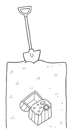 Cartoon vector illustration of big treasure under the shovel and soil. Black outlined and white colored.