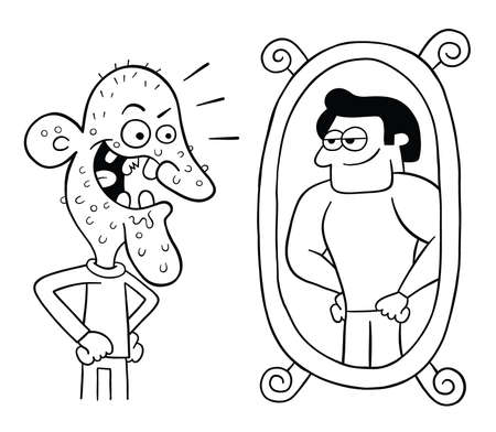 Cartoon ugly man looks in the mirror and thinks he's so handsome, vector illustration. Black outlined and white colored. Vektoros illusztráció
