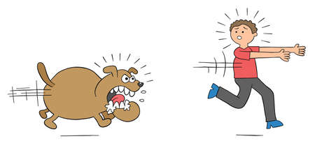 Cartoon angry dog chases man and man runs away, vector illustration. Colored and black outlines.