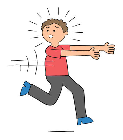 Cartoon man is afraid and runs away, vector illustration. Colored and black outlines.
