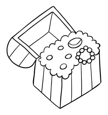 Cartoon vector illustration of treasure chest. Black outlined and white colored.