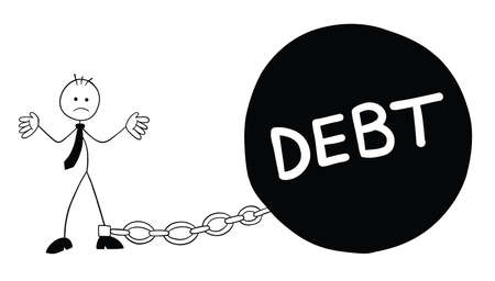 Stickman businessman character went bankrupt and chained to debt weight, vector cartoon illustration. Black outlined and white colored. Vektoros illusztráció