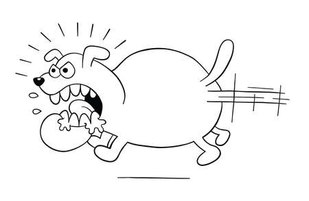 Cartoon angry and big dog running, vector illustration. Black outlined and white colored. Vector Illustratie