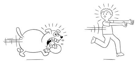 Cartoon angry dog chases man and man runs away, vector illustration. Black outlined and white colored. Vektoros illusztráció