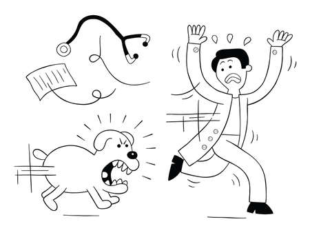 Cartoon dog is very angry and is chasing vet, vector illustration. Black outlined and white colored. Vector Illustratie