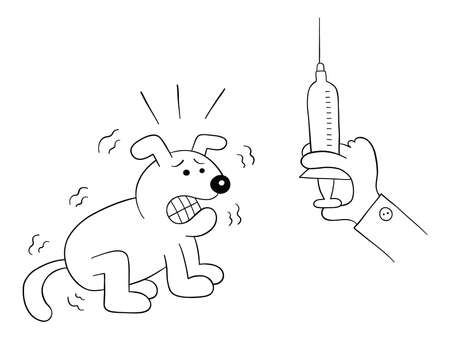 Cartoon dog is scared when it sees the syringe in veterinarian's hand, vector illustration. Black outlined and white colored. Vector Illustratie