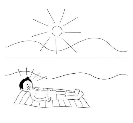 Cartoon man sunbathing on the beach for hours and when he wakes up his whole body is burnt red vector illustration. Black outlined and white colored.