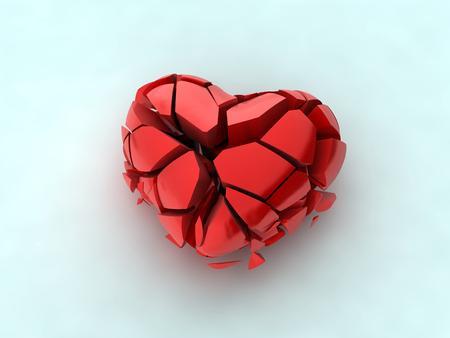 crystal heart: Broken heart on white Stock Photo
