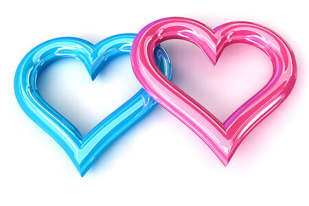 Pink Blue heart  photo