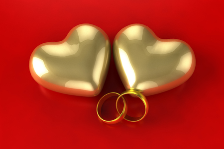 Gold heart rings photo