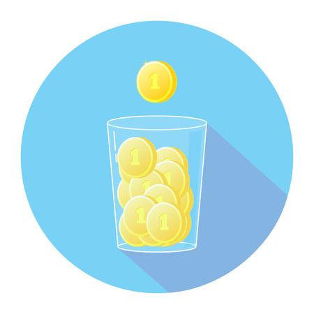 Money coin, glass, economy Ilustração