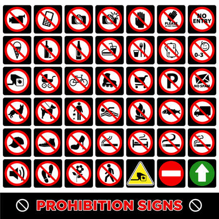 Warning signs. Caution signs. Don'ts. Signposts. Direction signs.