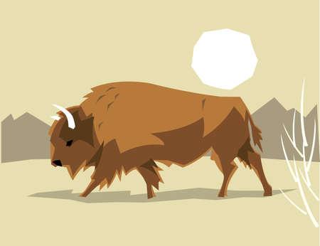 A buffalo American bison on a stylized grasslands background. Illustration