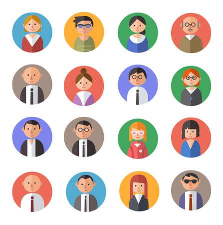 Conjunto de pessoas avatares no estilo de design plano material.