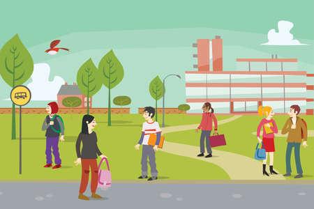educacion ambiental: Grupo de estudiantes fuera del campus universitario