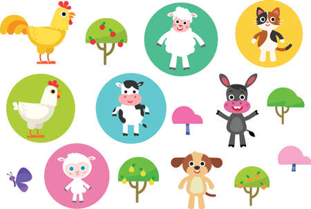 Farm animals. Each animal and body part is layered separately and can be moved, animated easily.