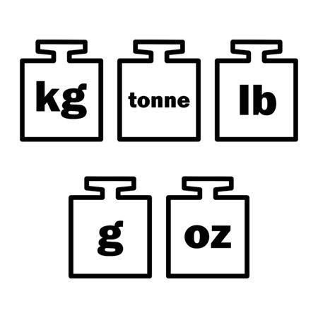Mass units, weight kilogram, tonne, pound, gram, oz icon vector isolated. Illustration