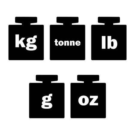 Mass units, weight kilogram, tonne, pound, gram, oz icon vector isolated. Ilustração