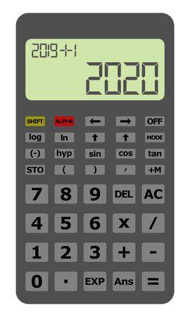 Feliz año nuevo 2020 en calculadora científica gris.