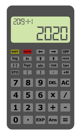 Happy New Year 2020 on gray, scientific calculator.