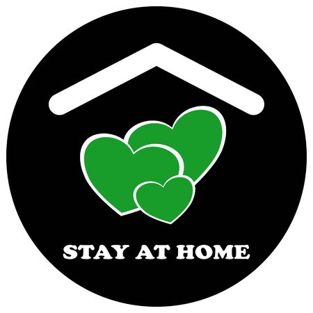stay at home sticker and icon, hearts