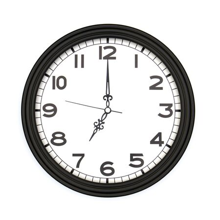 Black round analog wall clock isolated on white background, its seven oclock.