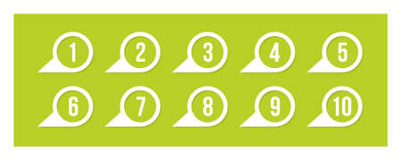 Labels with numbers, on green Illustration