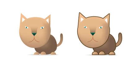 Brown cat, illustration on white Illustration