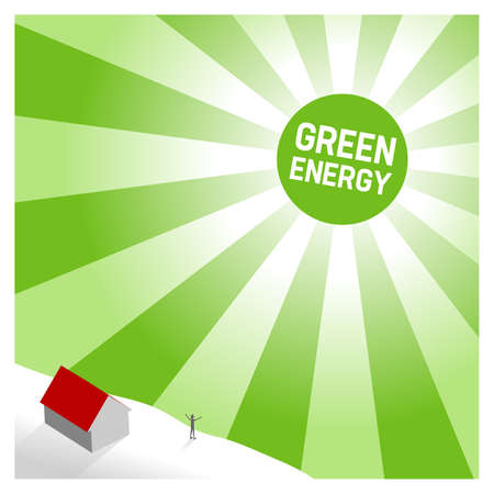 Green sun, background illustration