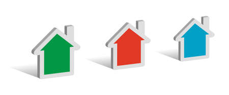 Three houses, 3D symbols with place for your text Stock Illustratie